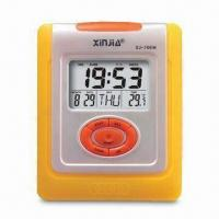 China Desk Clock with Thermometer, Calendar, LED Backlight and 24-hour Format wholesale
