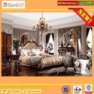 (BK0109-0008)BISINI Brand New Bedroom Furniture, Antique Royal Luxury Bedroom Furniture Set, King Size Bed Nightstand