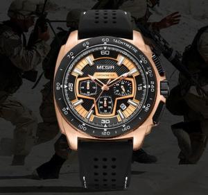 Quality MEGIR New 6 Hands Multifunction Military Chronograph Calendar Outdoor Sport for sale