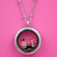 China New Arrival Jewelry Crystal Glass Floating Locket Charms Necklace wholesale
