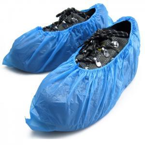 China Elastic Sewn Non Slip Shoe Covers Disposable , Single Use Blue Plastic Overshoes wholesale