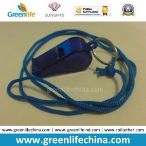China OEM Wholesale Custom Translucent Dark Blue Plastic Sport Whistle with Key Ring&Round Cord on sale