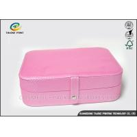 China Lovely Pink Leather Packaging Box Portable Jewelry Case With Mirror Inside wholesale