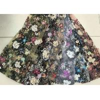 China Multi Color Embroidered 3D Flower Lace Fabric / Fabric , Bead Lace Tulle For Dress wholesale