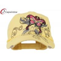 China Yellow Cotton Baseball Caps with Jeweled Butterfly for Adult wholesale
