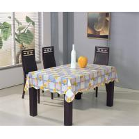 China PVC Tablecloth with Non-woven Back and Wave Over Locked Edge wholesale