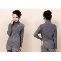 China Solid Color Womens Cashmere Sweaters Pullover with Turn Down Neck , Long Sleeves wholesale