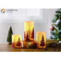 China S/3 Glittering Christmas Tree Decorative Candles LED Christmas Pillar Candles wholesale