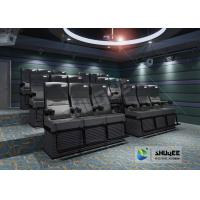 China Black 4D Cinema Equipment Chair Play 3D Films , 4D seats With Sweep Leg And Push Back Effect wholesale