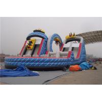 China Ourdoor Playground Big Kid Inflatable Water Slides With Obstacles And Climbing Wall wholesale