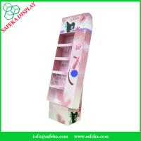 China 5 tier paper material paperboard cosmetics display shelf printed  paper racking display stand for beauty products wholesale