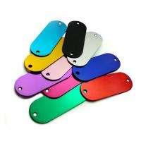 China Colored Anodized Custom Engraved Dog Tags Runway Shape With Two Holes wholesale