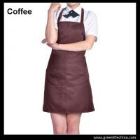 China Dirty resistant coffee color unisex working apron with 2pockets for coffee shop waiters on sale