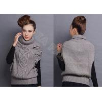 China Sleeveless Chunky Cable Knit Sweaters Pullover with Turn-Down Collar Drop Shoulder wholesale