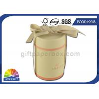 Fancy Gift Paper Packaging Tube with Ribbon , Cylinder Round Paper Box SGS
