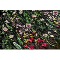 China Stretch Multi Colored Floral Heavy Beaded Lace Fabric For Wedding Dress Decoration wholesale