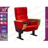 China Red Fabric Cover Stadium Theatre Seating Chairs With Drink Holder / Folded Movie Seats wholesale