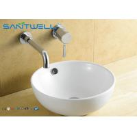 China Home White Counter Top Wash Basin , Ceramic Bathroom Sink 430*430*170mm wholesale