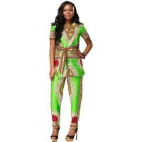 China Customized Size African Print Ladies Pants Suit For Summer / Spring / Autumn wholesale