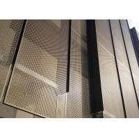 Quality Golden Color Decorative Aluminum Facade Sheet with Diagonal Perforation for sale