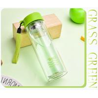 China Insulated Shatterproof Green Double Wall Glass Water Bottle Healthy For Drink wholesale
