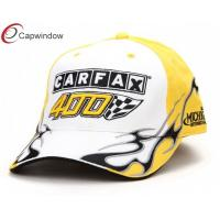 China Yellow Racing Baseball Caps With White Sandwich Peak , 46 3D Embroidery wholesale