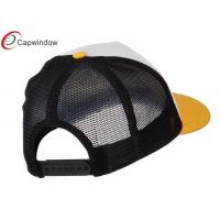 Quality Yellow Tri Vintage Trucker Mesh Hats Cotton / Polyester / Plastic Adjustable Closure for sale