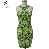 China Bodycon African Print Dresses Designs For Women'S Clothing Kitenge Fabric Front Slit wholesale