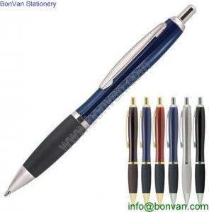 China push button gold trim pen, retractable metal ballpen,click curvy metal ballpoint pen wholesale