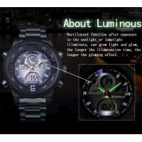 Quality Wholesale Men Anlaogue Digital Dual Time Stainless Steel Bands Casual Sport Wrist Watches BOAMIGO F100 for sale