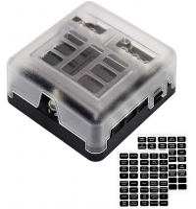 China 6-Way Fuse Panel Box Blade Holder w/Negative 12V 6-Circuit Fuse Block Box LED Light Indication & Protection Cover, wholesale
