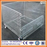 China Folding Wire Mesh Container/ Stackable Storage Cage/ Metal Basket wholesale