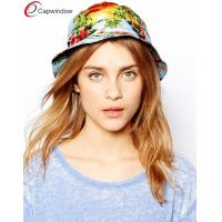 China Flat Crown Fisherman Bucket Hat , Breathable Women Blue Tropical Hat wholesale
