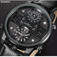 Buy cheap Boamigo Men Three Time Multifunction Waterproof 30m Leather Band Wrist Watch from wholesalers