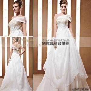China oblique shoulder beaded bridal gowns 90032 wholesale