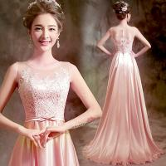 China Pink Lace And Satin Sleeveless Slim Waist Gorgeous Evening Dress TSJY128 wholesale