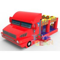 China Fun Monster Inflatable Bounce House Fire Truck Shape 3 In 1 Combo For Commercial wholesale
