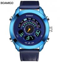 China BOAMIGO F538 double movement watches for men with genuine leather strap sport style waterproof function wholesale