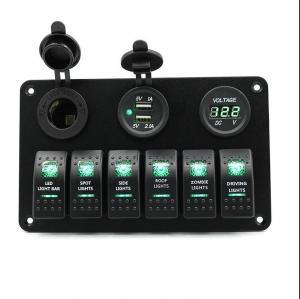 China 12V-24V Marine Switch Panel Car Marine Boat Circuit Red LED Breaker 6 Gang Panel Laser Pattern wholesale
