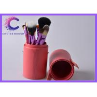 China Cosmetic 12 pcs makeup brush set  with leather bucket , leather box wholesale