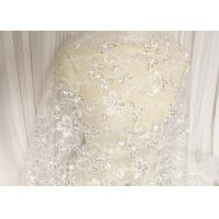 China White Floral Embroidery Corded Lace Fabric With Beads And Sequins For Wedding Dress wholesale