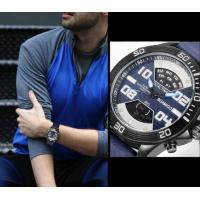 China Wholesale BOAMIGO Fashion Men Cretive Dual Display Leather Strap Chronograph 3 ATM Charm Design Sport Watches F540 wholesale