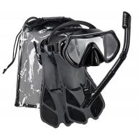 China Adjustable Flippers Double Lens Silicone Snorkel Mask Set With Dry Top Tube wholesale