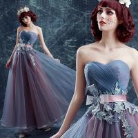 China Gray And Purple Off The Shoulder Stage Show Dress Gorgeous Evening Dress TSJY133 wholesale