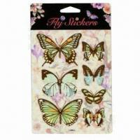 China 3D Fly Stickers with Die-cut of Butterflies, Dragonflies and Birds wholesale