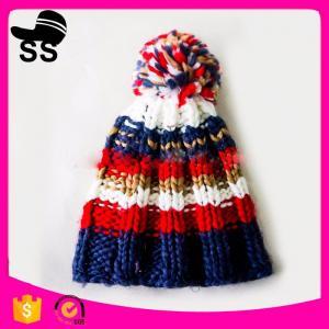 China 2017 New Style 20*30cm 71g fashion high quality fashion winter strip beanie hat with pom pom winter knitting hats wholesale