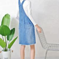 China Ripped Knee Length Ladies Dungaree Dress , Women Denim Dress With Pockets wholesale