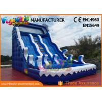 China Fire Retardant Outdoor Inflatable Water Slides / Double Lane Slip And Slide wholesale