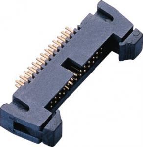 China 1.27mm 2*13P DIP Latch Header PA9T Black GF UL94V-0 AU Sn over Ni wholesale