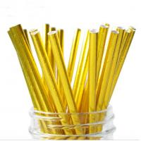 China Food Grade Gold Blocking Coloured Paper Straws , Decorative Drinking Straws Pass FDA wholesale